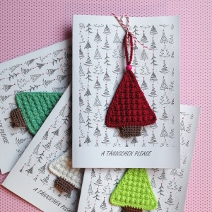 Weihnachtskarte A TÄNNSCHEN PLEASE mit handgehäkeltem Christbäumchen Xmas - Handarbeit kaufen