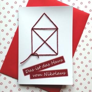 Geschenkkarte DAS IST DAS HAUS VOM NIKOLAUS bedruckt und bestickt - Handarbeit kaufen