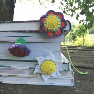 Lesezeichen prachtvolle Blumen Blümchen aus Baumwolle gehäkelt - Handarbeit kaufen