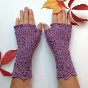 Stulpen fingerlose Handschuhe mit Daumen und hübscher Musterbordüre aus weicher Natur-Wolle handgestrickt - Handarbeit kaufen