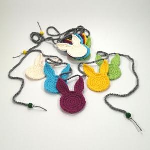 Hasen-Girlande Osterhasen in zuckersüßen Bonbonfarben aus Baumwolle gehäkelt - Handarbeit kaufen