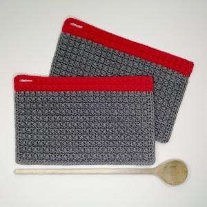 Zweier-Set Topflappen minimalistisch im Little-Berry-Stitch aus Baumwolle gehäkelt