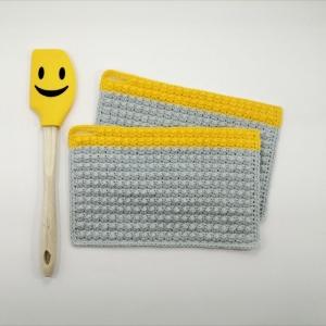 Zweier-Set Topflappen minimalistisch im Little-Berry-Stitch aus Baumwolle gehäkelt - Handarbeit kaufen