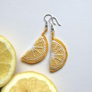 Ohrringe Zitronen Sommerschmuck aus Baumwolle sehr fein handgehäkelt - Handarbeit kaufen