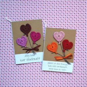 Glückwunschkarte zur Hochzeit mit gehäkeltem Herz-Luftballons mit Wunschtext - Handarbeit kaufen