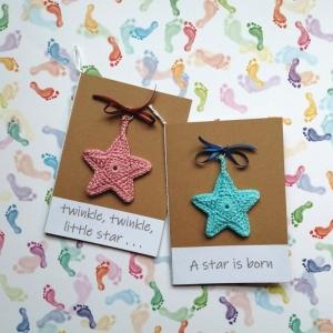 Glückwunschkarte zur Geburt A star is born, Twinkle, twinkle little star . . . mit gehäkeltem Stern mit Wunschtext - Handarbeit kaufen
