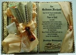 Deko-Buch zur Goldenen Hochzeit mit Holz-Buchständer