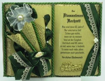 Deko-Buch Diamantene Hochzeit  mit Holz-Buchständer