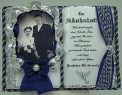 Deko-Buch Silberhochzeit für Foto mit Holz-Buchständer