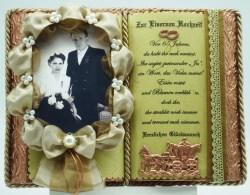 Deko-Buch zur Eisernen Hochzeit mit Holz-Buchständer