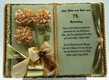 Dekobuch zum 75. Geburtstag – mit Holz-Buchständer