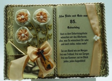 Dekobuch zum 85. Geburtstag – mit Holz-Buchständer
