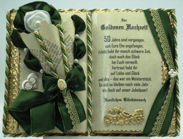 Goldene Hochzeit – 50-jähriges Ehejubiläum – Dekobuch mit Holz-Buchständer