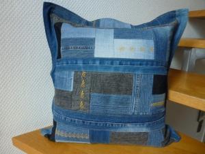 ★ upcycling ♥ Sofakissen ♥ used Jeans  ♥ Patchwork ♥  Kissenbezug ♥ Kissenhülle ★ - Handarbeit kaufen