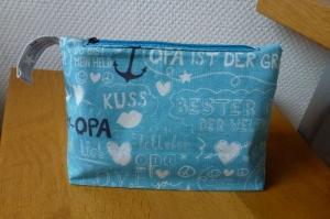 ♥ Super-Opa ♥ Tasche für Rasierapparat, Kosmetiktasche, Universaltasche ♥ in türkis mit weißer und schwarzer Schrift und weißen Anker, Herzchen