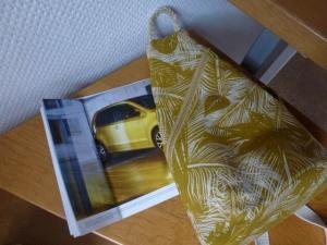 ♥ kleiner Rucksack mit einem Tragegurt, Crossbag ♥ passend zur Autofarbe Honey Yellow metallic ♥ - Handarbeit kaufen