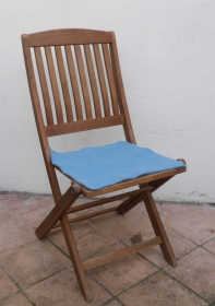 Sitzauflage aus Alpaka-/Schafwolle Mischung Strickfilz hellblau - Handarbeit kaufen