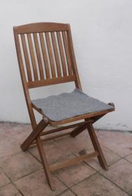 Sitzauflage aus Alpaka-/Schafwolle Mischung Strickfilz mittelgrau - Handarbeit kaufen