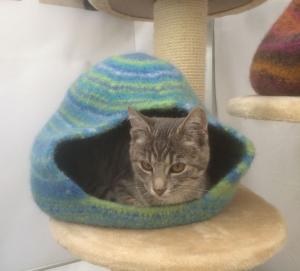 Katzenhöhle aus Schafwolle Strickfilz blau/grün, waschbar  - Handarbeit kaufen