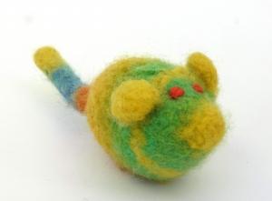 Katzenspielmaus Katzenspielzeug aus Strickfilz mit Rassel, robust, waschbar Farbe gelb/grün orange Augen - Handarbeit kaufen