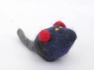 Katzenspielmaus Katzenspielzeug aus Strickfilz mit Rassel, robust, waschbar Farbe grau/blau gelbe Augen  - Handarbeit kaufen