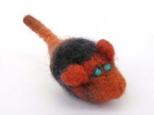 Katzenspielmaus Katzenspielzeug aus Strickfilz mit Rassel, robust, waschbar Farbe grau/orange - Handarbeit kaufen