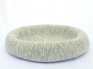 Katzenkorb/Katzenbett aus Schafwolle Strickfilz grau meliert, waschbar - Handarbeit kaufen