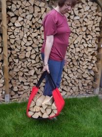 Kaminholztragetasche, Holztragekorb aus robustem Strickfilz rot-schwarz - Handarbeit kaufen