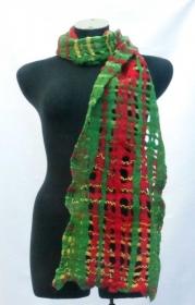 Gitter-Filzschal Merinowolle/Seide rot-grün Handgemacht - Handarbeit kaufen