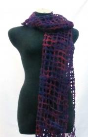 Gitter-Filzschal Merinowolle violett, handgemacht - Handarbeit kaufen