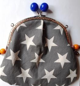 Traum Universal-Täschchen mit Sternen - hochwertiger Taschen-Bügel mit 2 blauen großen Kugelgriffen - Handarbeit kaufen