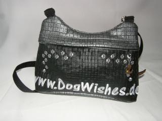 Handbag zum Umhängen, aus Kunstleder mit Bestickung