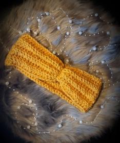 Stirnband in Curry mit Raffung - Handarbeit kaufen