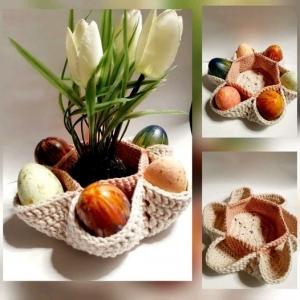 Tolles Osternest mit Platz für bis zu 6 Ostereier *100% Baumwolle in Beige/ Rosa - Handarbeit kaufen
