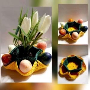 Tolles Osternest mit Platz für bis zu 6 Ostereier *100% Baumwolle in Gelb / Grün*  - Handarbeit kaufen