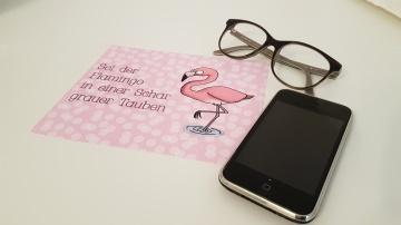 Flamingo Glas- und Brillenputztuch - Displayreinigungstuch - Mikrofasertuch individuell bedruckt