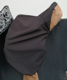 Sattelschoner schwarz/braun, wasserabweisend mit passenden Steigbügelhüllen - Handarbeit kaufen