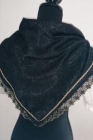 Festtuch, Trachtentuch, Dreieckstuch aus edlem Jacquard mit Zierborte - Handarbeit kaufen