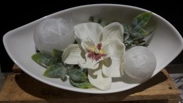 Porzellanschale mit Acryalkugeln und Orchidee beleuchtet