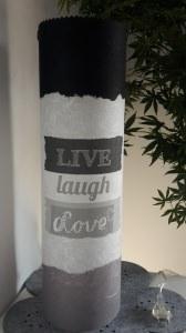 Leuchtröhrenlampe inkl. Lichterkette mit Strom  Motiv Live, Laugh, Love