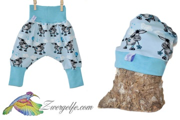 Baby oder Kinder Set Pumphose Mütze (Beanie oder Knotenmütze) Esel blau