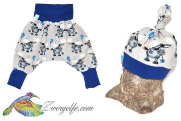 Baby oder Kinder Set Pumphose Mütze (Beanie oder Knotenmütze) Esel beige