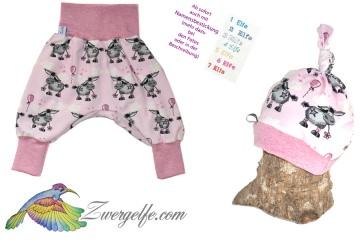 Baby oder Kinder Set Pumphose Mütze (Beanie oder Knotenmütze) Esel rosa