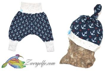 Baby oder Kinder Set Pumphose Mütze (Beanie oder Knotenmütze) Anker, blau, maritim