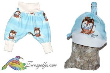 Baby oder Kinder Set Pumphose Mütze (Beanie oder Knotenmütze) Bruchpilot, Fuchs