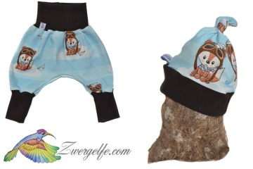 Baby oder Kinder Set Pumphose Mütze (Beanie oder Knotenmütze) Bruchpilot, Fuchs, braun