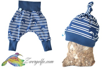 Baby oder Kinder Set Pumphose Mütze (Beanie oder Knotenmütze) Delfine, blau
