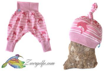Baby oder Kinder Set Pumphose Mütze (Beanie oder Knotenmütze) Delfine, rosa