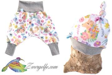 Baby oder Kinder Set Pumphose Mütze (Beanie oder Knotenmütze) Einhörner, Einhorn, Blumen