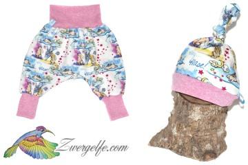 Baby oder Kinder Set Pumphose Mütze (Beanie oder Knotenmütze) Einhörner, Einhorn, Hase